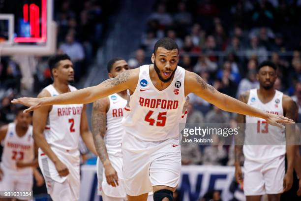 Darius Bolstad of the Radford Highlanders celebrate his teams victory over the Long Island Blackbirds in the First Four game in the 2018 NCAA Men's...