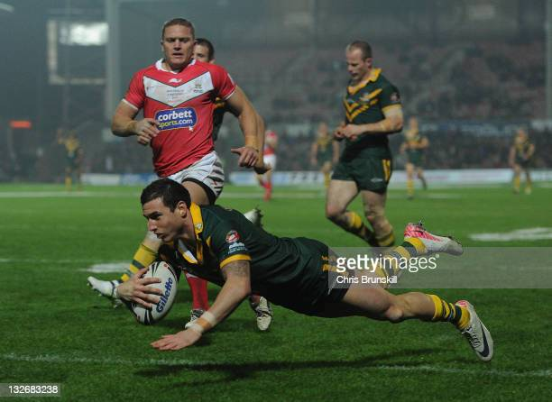 Darius Boyd of Australia goes over for a try during the Four Nations match between Wales and Australia at The Racecourse Ground on November 13 2011...