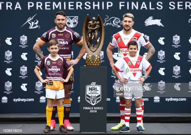 Darius Boyd of the Brisbane Broncos and Gareth Widdop of the St George Illawarra Dragons pose during the 2018 NRL Finals Series Launch at Allianz...