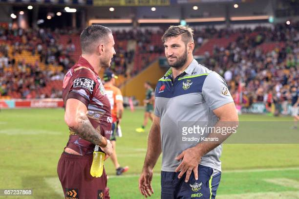 Darius Boyd of the Broncos and David Taylor of the Raiders chat after the round four NRL match between the Brisbane Broncos and the Canberra Raiders...
