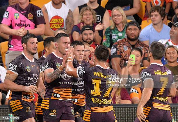 Darius Boyd of the Broncos celebrates scoring a try during the round two NRL match between the Brisbane Broncos and the New Zealand Warriors at...