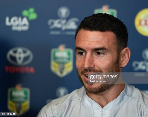 Darius Boyd of the Broncos looks on at the post match media conference at the end of during the round 26 NRL match between the North Queensland...