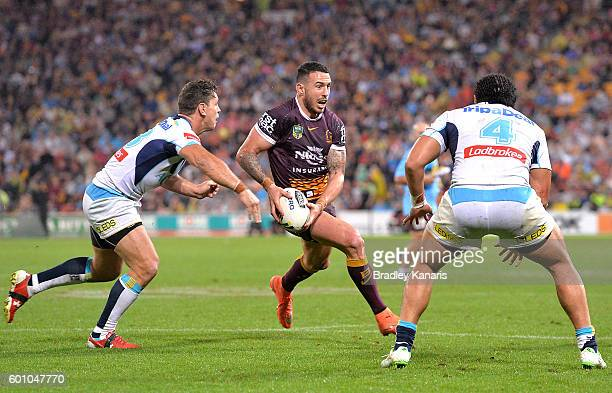 Darius Boyd of the Broncos looks to pass during the NRL Elimination Final match between the Brisbane Broncos and the Gold Coast Titans at Suncorp...