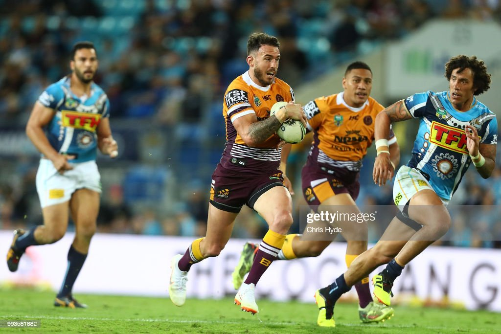 Darius Boyd of the Broncos runs the ball during the round 17 NRL match between the Gold Coast Titans and the Brisbane Broncos at Cbus Super Stadium on July 8, 2018 in Gold Coast, Australia.