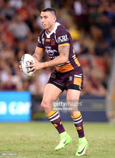 Darius Boyd of the Broncos runs with the ball during the round two NRL match between the Brisbane Broncos and the North Queensland Cowboys at Suncorp...