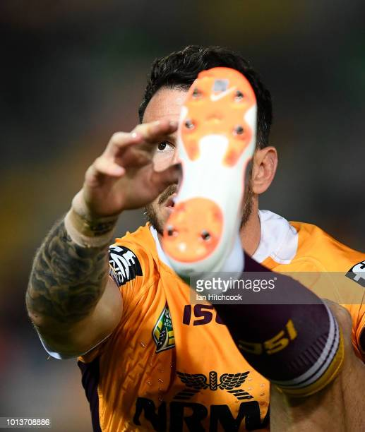 Darius Boyd of the Broncos warms up before the start of the round 22 NRL match between the North Queensland Cowboys and the Brisbane Broncos at...