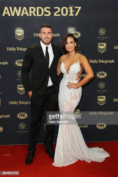 Darius Boyd of the Broncos with wife Kayla Boyd arrive ahead of the 2017 Dally M Awards at The Star on September 27 2017 in Sydney Australia