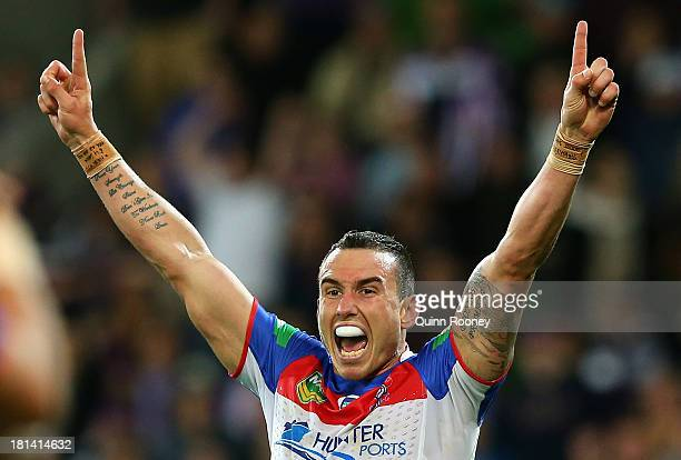 Darius Boyd of the Knights celebrates winning the NRL Second Semi Final match between the Melbourne Storm and the Newcastle Knights at AAMI Park on...