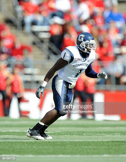 Darius Butler of the Connecticut Huskies blocks against the Rutgers Scarlet Knights at Rutgers Stadium on October 18, 2008 in Piscataway, New Jersey....