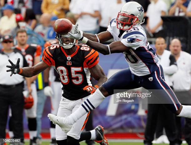 Darius Butler of the New England Patriots breaks up a pass intended for Chad Ochocinco of the Cincinnati Bengals during the NFL season opener at...