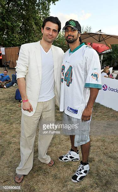 Darius Campbell and David Haye attend day 1 of the Barclaycard Wireless Festival at Hyde Park on July 2 2010 in London England