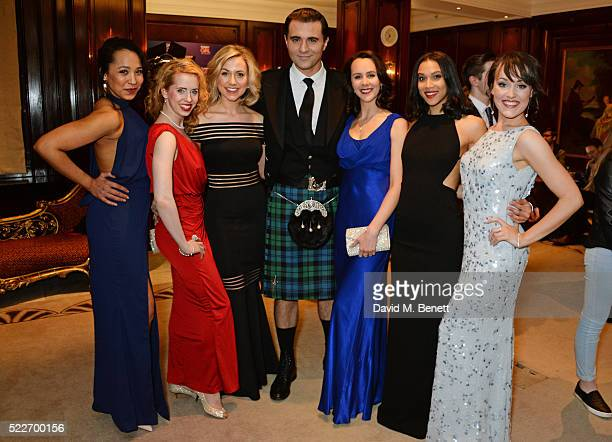 Darius Campbell poses with cast members Joelle Dyson Clare Rickard Rebecca Fennelly Leah Harris Sanchia Amber Clarke and Emma Caffrey at the press...
