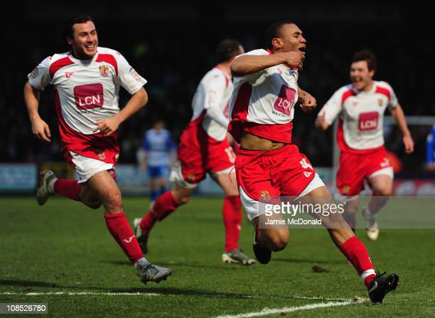 Darius Charles of Stevenage celebrates his goal during the FA Cup Sponsored by Eon 4th Round match between Stevenage and Reading at the Lamex Stadium...
