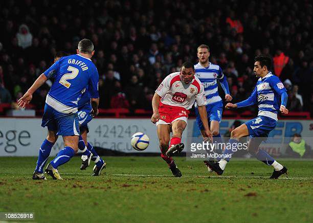 Darius Charles of Stevenage scores his goal during the FA Cup Sponsored by Eon 4th Round match between Stevenage and Reading at the Lamex Stadium on...