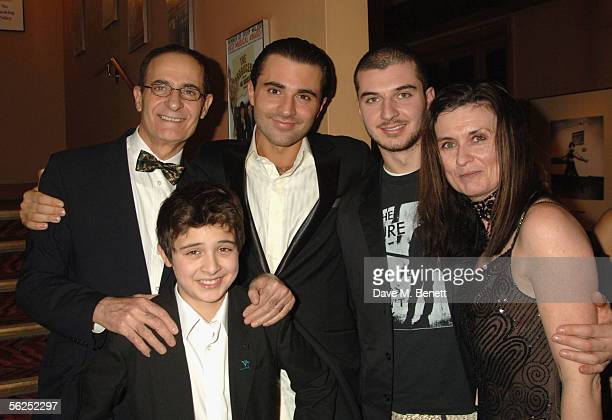 Darius Danesh poses with his family father Booth brothers Cyrus and Aria and mother Avril at the backstage party following Darius Danesh's first...