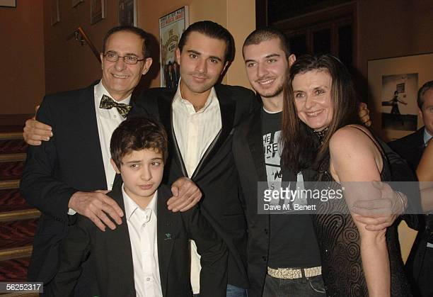 Darius Danesh poses with his father Booth brothers Cyrus and Aria and mother Avril during the backstage party following Danesh's first night playing...
