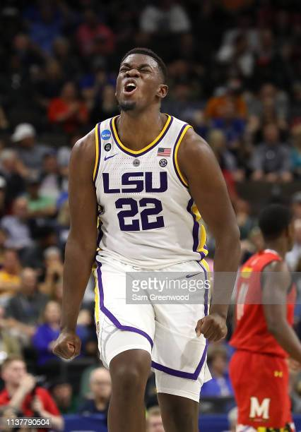 Darius Days of the LSU Tigers reacts against the LSU Tigers during the first half of the game in the second round of the 2019 NCAA Men's Basketball...