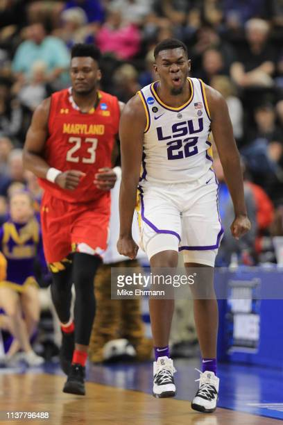 Darius Days of the LSU Tigers reacts as Bruno Fernando of the Maryland Terrapins looks on during the second half of the game in the second round of...