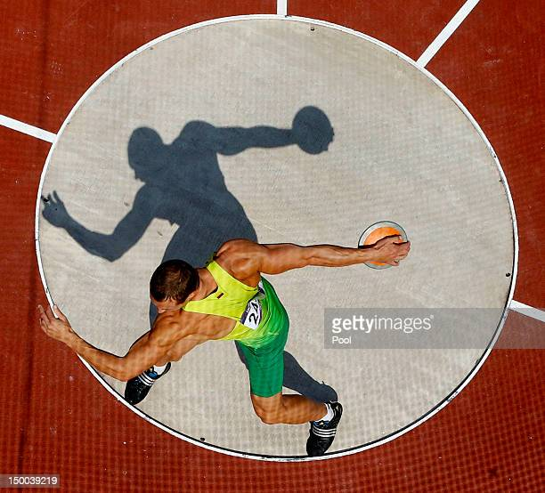 Darius Draudvila of Lithuania competes during the Men's Decathlon Discus Throw on Day 13 of the London 2012 Olympic Games at Olympic Stadium on...