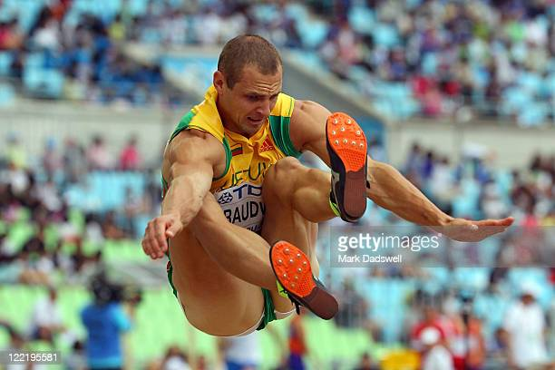 Darius Draudvila of Lithuania competes in the long jump in the men's decathlon during day one of the 13th IAAF World Athletics Championships at the...