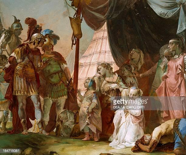 Darius' family in front of Alexander by Giovanni Battista Crosato fresco 280x235 cm Ballroom ceiling Ca' Marcello Levada di Piombino Dese Veneto...