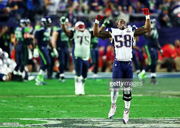 Darius Fleming of the New England Patriots reacts after an interception against the Seattle Seahawks during Super Bowl XLIX at University of Phoenix...