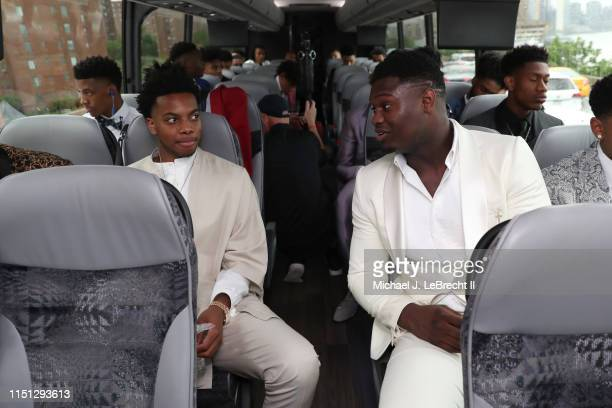 Darius Garland and Zion Williamson talk while on the bus going to the 2019 NBA Draft on June 20, 2019 at the Barclays Center in Brooklyn, New York....