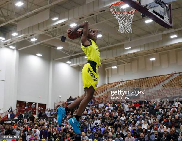 Darius Garland of Brentwood Academy attempts a dunk during the 2018 McDonald's All American Game POWERADE Jam Fest at Forbes Arena on March 26 2018...