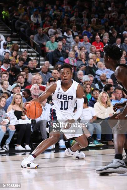 Darius Garland of Team USA dribbles the ball against Team World during the Nike Hoop Summit on April 13 2018 at the MODA Center Arena in Portland...