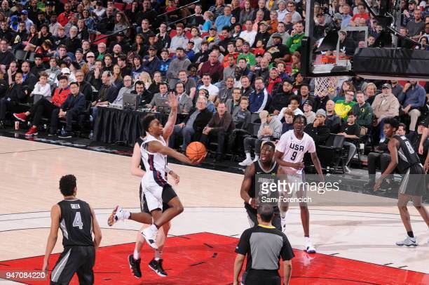 Darius Garland of Team USA drives to the basket against Team World during the Nike Hoop Summit on April 13 2018 at the MODA Center Arena in Portland...