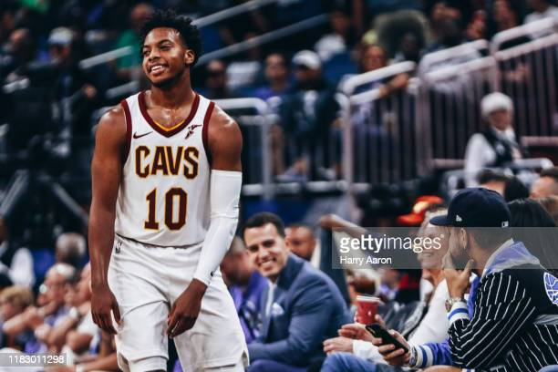 Darius Garland of the Cleveland Cavaliers between plays against the Orlando Magic in the 3rd quarter at Amway Center on October 23 2019 in Orlando...
