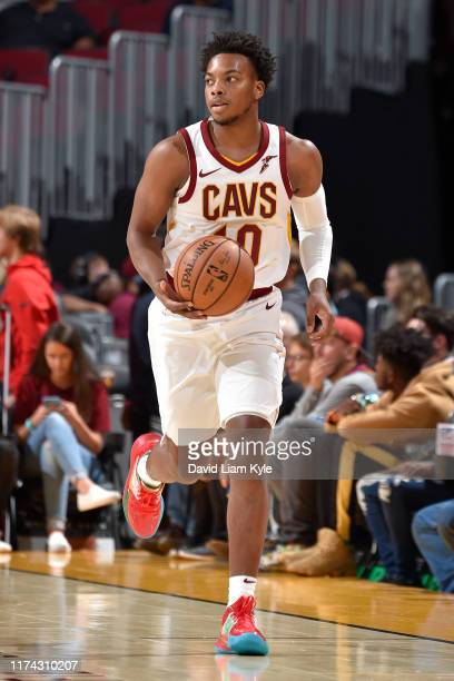 Darius Garland of the Cleveland Cavaliers dribbles up court against the San Lorenzo during the preseason on October 7 2019 at Quicken Loans Arena in...