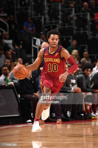 Darius Garland of the Cleveland Cavaliers handles the ball against the Detroit Pistons during a preseason game on October 11 2019 at Little Caesars...