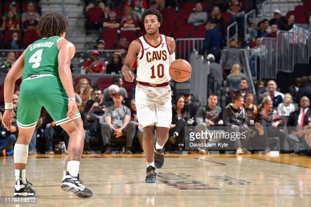 Darius Garland of the Cleveland Cavaliers handles the ball against the Boston Celtics during a preseason game on October 15 2019 at Quicken Loans...