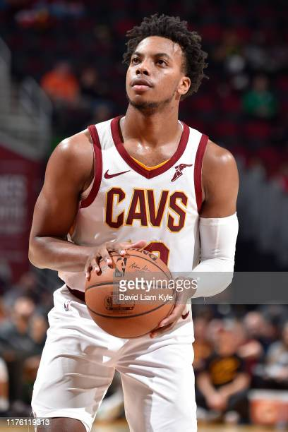 Darius Garland of the Cleveland Cavaliers shoots a free throw against the Boston Celtics during a preseason game on October 15 2019 at Quicken Loans...