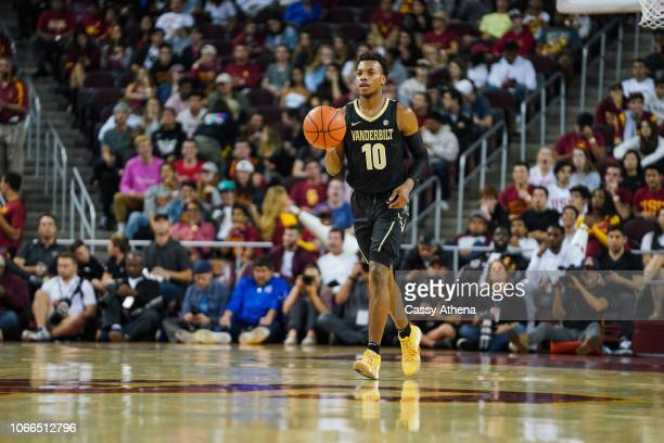 Darius Garland of the Vanderbilt Commodores handles the ball against the USC Trojans during a game at The Galen Center on November 11 2018 in Los...