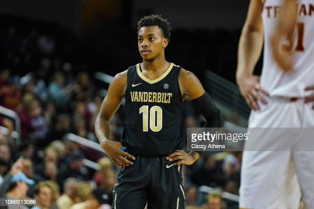 Darius Garland of the Vanderbilt Commodores looks on against the USC Trojans during a game at The Galen Center on November 11 2018 in Los Angeles...