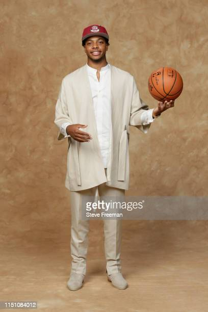 Darius Garland poses for a portrait after being drafted by the Cleveland Cavaliers at the 2019 NBA Draft on June 20 2019 at Barclays Center in...