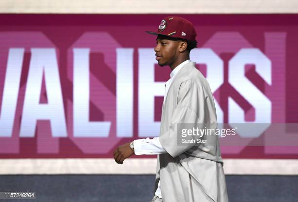 Darius Garland reacts after being drafted with the fifth overall pick by the Cleveland Cavaliers during the 2019 NBA Draft at the Barclays Center on...