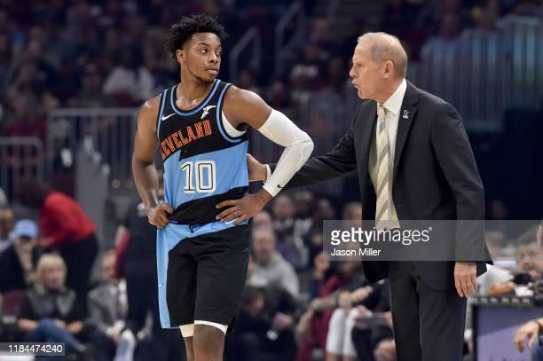 Darius Garland talks with head coach John Beilein of the Cleveland Cavaliers during the first half against the Indiana Pacers at Rocket Mortgage...
