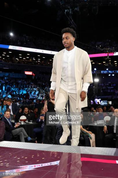 Darius Garland walks up to the stage after being selected fifth overall by the Cleveland Cavaliers during the 2019 NBA Draft on June 20 2019 at the...