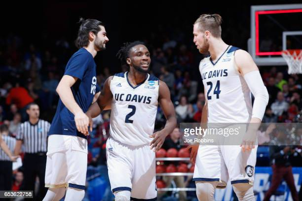 Darius Graham of the UC Davis Aggies celebrates with teammates after defeating the North Carolina Central Eagles 6763 during the First Four game in...