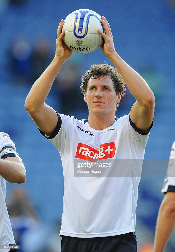 Darius Henderson of Millwall celebrates with the match ball after scoring a hat trick during the npower Championship match between Leicester City and Millwall at the King Power Stadium on October 22, 2011 in Leicester, England.