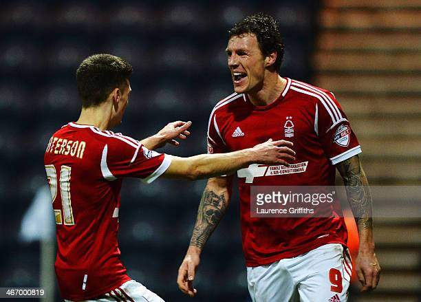 Darius Henderson of Nottingham Forest celebrates with team mate Jamie Paterson after scoring his sides second goal during the FA Cup Fourth Round...