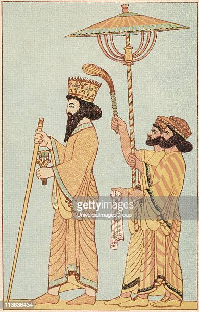Darius I Achaemenid king of Persia from 521 with attendants Chromolithograph of 1881 after frieze in the citadel at Susa