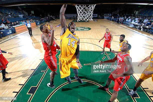 Darius JohnsonOdom of the Los Angeles DFenders slam dunks the ball against the Rio Grande Valley Vipers during the 2013 NBA DLeague Showcase on...