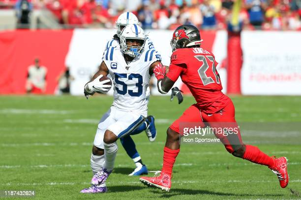 Darius Leonard of the Colts returns an interception during the regular season game between the Indianapolis Colts and the Tampa Bay Buccaneers on...