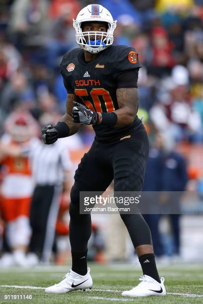 Darius Leonard of the South team defends during the Reese's Senior Bowl at LaddPeebles Stadium on January 27 2018 in Mobile Alabama