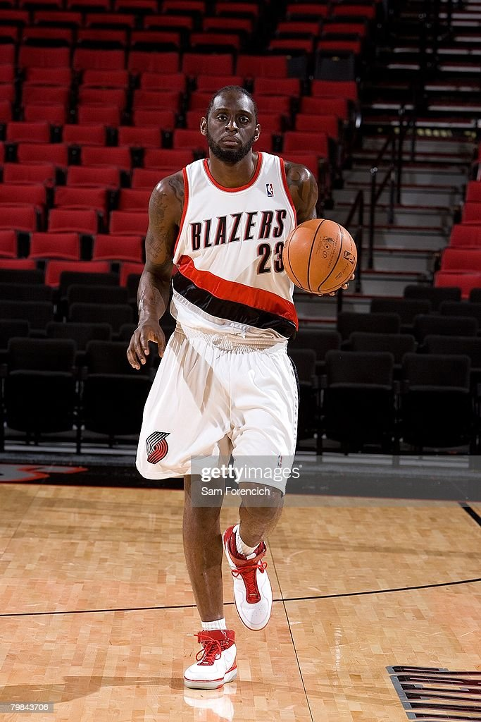 Darius Miles #23 of the Portland Trail Blazers brings the ball upcourt during the Portland Trail Blazers Media Day on January 7, 2008 at The Rose Garden in Portland, Oregon.