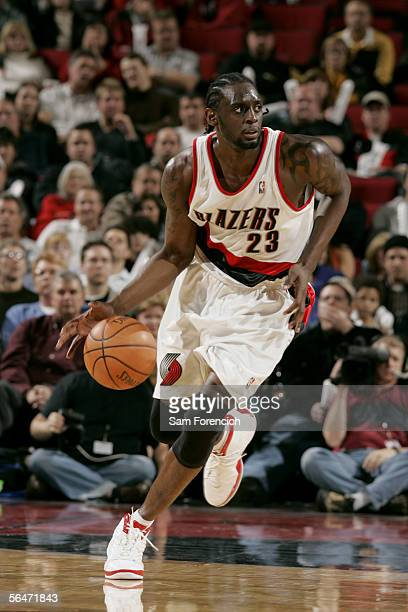 Darius Miles of the Portland Trail Blazers drives against the Indiana Pacers during the game on December 2 2005 at the Rose Garden Arena in Portland...